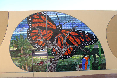 Outdoor children's area. Monarch mosaic.